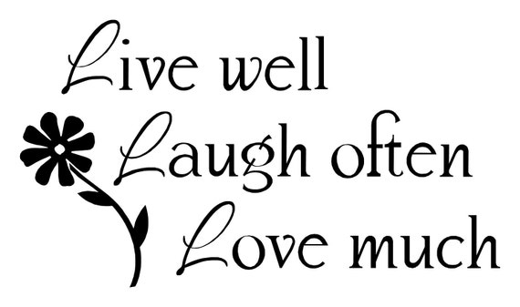 items similar to live well laugh often love much wall decal on etsy. Black Bedroom Furniture Sets. Home Design Ideas