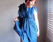 Wedding Dress. Bridesmaid Dress. Fairy Wedding Gown. Custom Wedding Dress. Handmade Wedding Dress. Royal Blue Organic Cotton. YOUR Size.