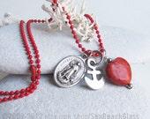 Confirmation Gift Necklace. St Raphael the Archangel. Patron Saint of Doctors, Travelers. Beach Necklace. Catholic Necklace. Item 057 bis