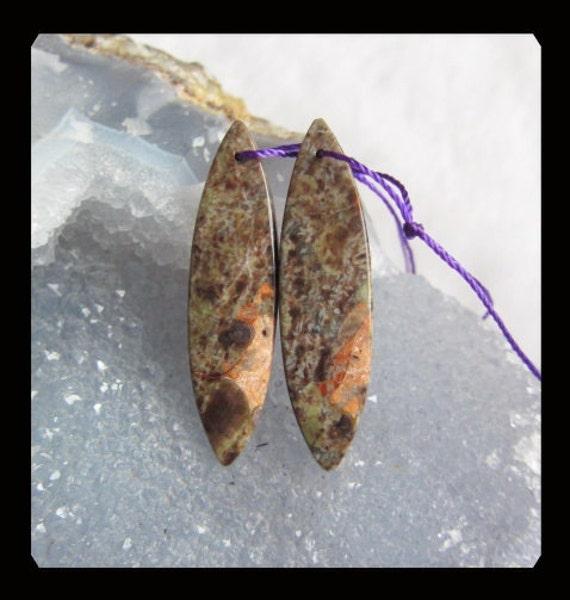 Reserved for Lynn Parpard,Mushroom Jasper Earring Beads,39x10x4mm,5.21g
