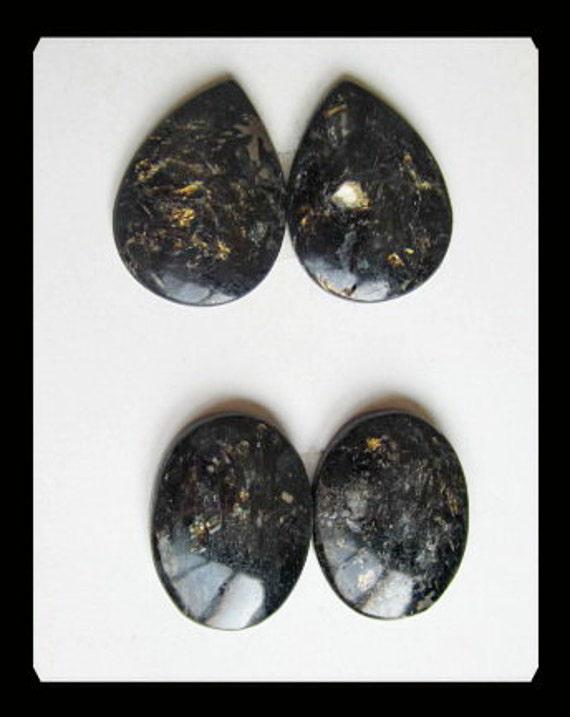 SALE,2 Pairs Pyrite Cabochons,8.72g