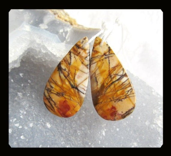 Reserved for Leanne,Multi-Color Picasso Jasper Earring Bead,33x16x4mm,7.03g