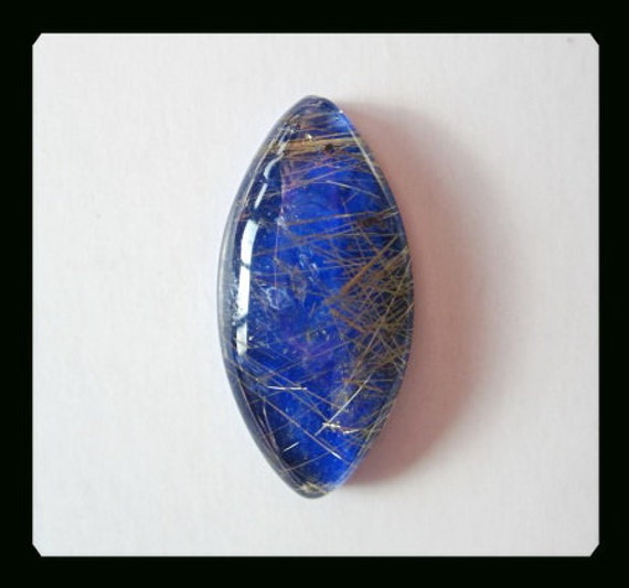 Gold Rutilated Quartz,Lapis Lazuli Intarsia Cabochon,28x14x6mm,3.79g