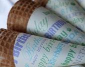 Happy Birthday Sugar Cone Sleeves - (set of 10)