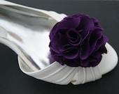 purple Violet bridal shoe clips in satin