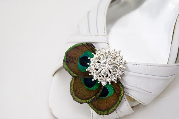 peacock feathers and rhinestone shoe clips