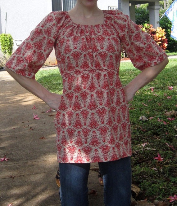 red damask print top with bell sleeves