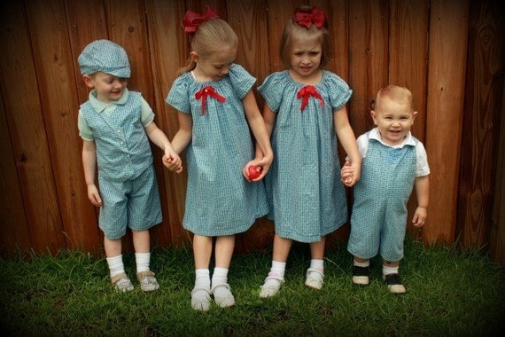 matching brother sister siblings hat vest shorts dress 1950 blue retro 6M, 12m, 2t, 3t, 4t, 5t, 6, 7,8