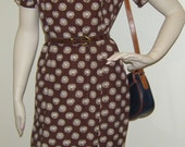Vintage Designer SHIFT DRESS Brown with Cream Print 60s Small or Medium