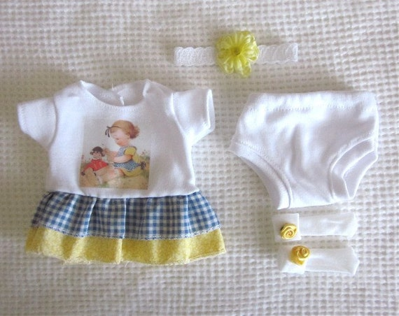 """4 PC Ruffle Dress Set for a 9""""-10"""" OOAK Baby, My Dolly"""
