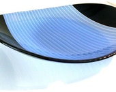 Blue and Black Striped Oval Bowl