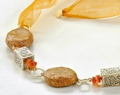 Bohemian jewelry, Bohemian style necklace, Paper beads, sterling silver ornamented beads and orange  ribbon
