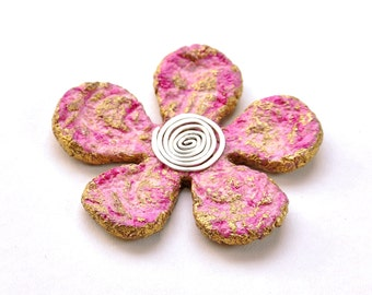 Pink flower Paper brooch, Eco chic brooch, Eco friendly brooch