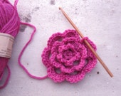 Rose Flower Brooch Hairclip Hot Pink Pure New Wool Crocheted freeshippingfrance team trade on