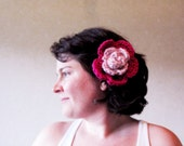 Romantic Flower Brooch Hairclip Pink Pure New Wool Handcrochet
