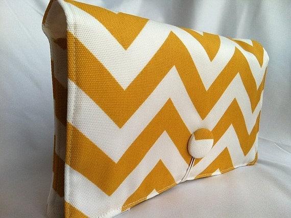 FREE SHIPPING Boutique Diaper Wipe Clutch- Yellow Chevron-  Organize your Diaper Bag