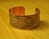 Etched Copper Jumping Horse Cuff Bracelet