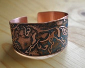 Etched Copper Cuff with Trotting Horse