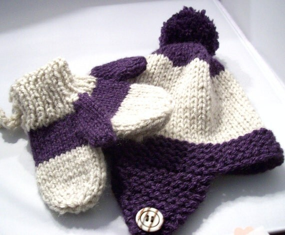 Baby Earflap Hat and Mittens Knit in Purple and White Stripe