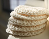 Eco-friendly cotton face scrubbies/discs in ivory - set of 5