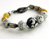 Ivory Mustard Black Bracelet, Yellow, White, Beaded, Beadwork Bracelet, Handmade Bracelet, Jewelry