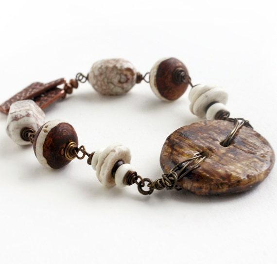 Button Bracelet, Brown White Bracelet, Beaded, Beadwork Bracelet, Wire wrapped