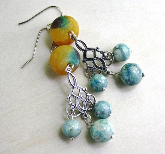 Chandelier Earrings, Agate Earrings, Blue Earrings, Long, Dangles, Beaded, Beadwork