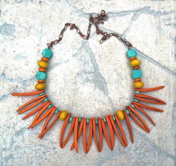 Orange Necklace, Lightweight, Colorful, Coco Beads, Beaded, Beadwork, Single Strand