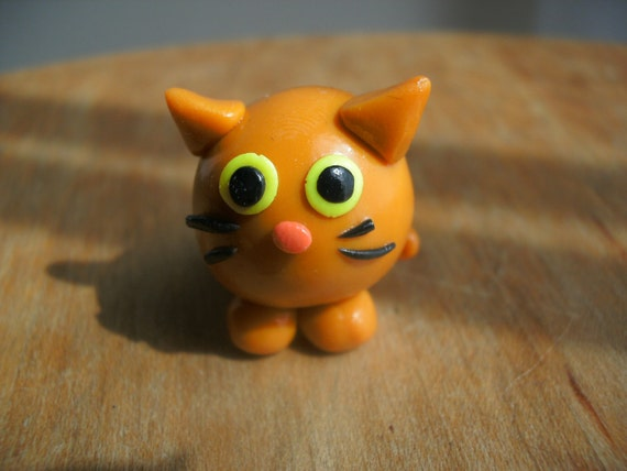 Polymer Clay Cat- Orange-Striped and Fat Cat Miniature Figure