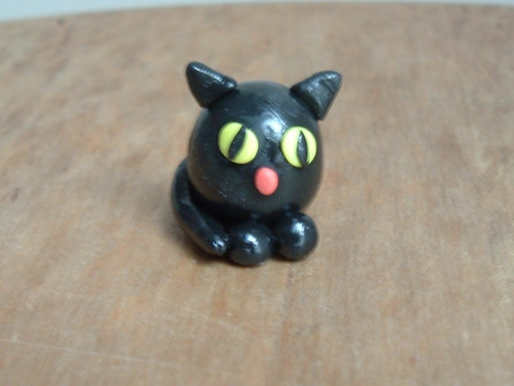 Polymer Clay Cat- Fat and Black Miniature Figure Free Shipping