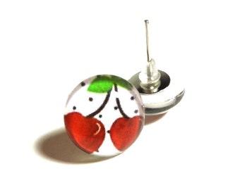 Cherry Earrings, Fruit Earrings, Pin Up Earrings, Retro Earrings, Cherries, Red Cherry Earrings, Post Earrings, Glass Earrings, Rockabilly