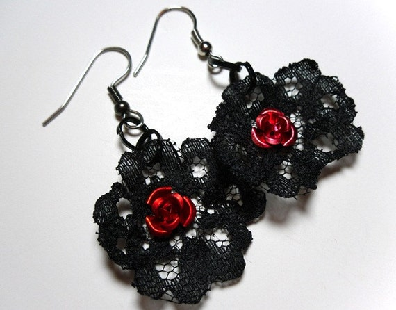 Striking Black Lace Earrings with an Aluminum Red Rose - Hooks or Clip Ons