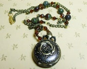 Detailed Rose Pocket Watch Necklace Steampunk Bronze Gold Antique Green Vintage Inspired Clock