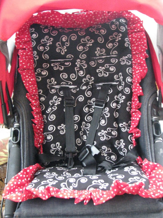 Stroller Liner - Reversible Padded Red, Black & White  Red and White polka dots - Unisex Custom Made