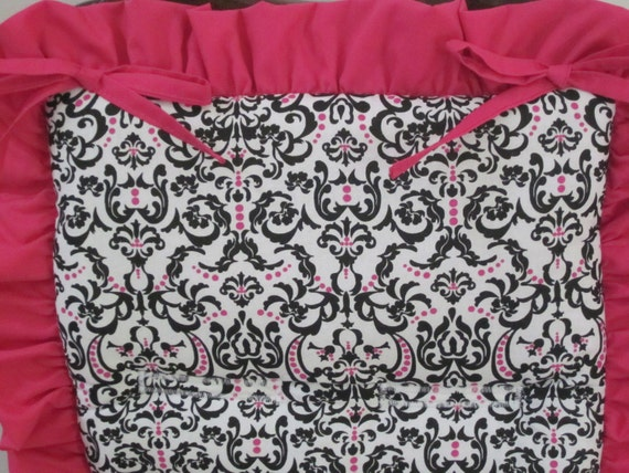 Reserved custom listing for Ana - Reversible Padded Stroller Liner - Universal fit - made with a Black/White with Hot Pink Damask fabric