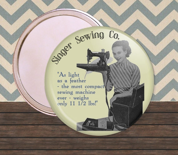 Singer Sewing Company Vintage 2.25 inch Compact Mirror