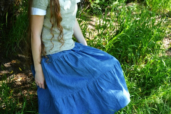 Gathered Jean Skirt - Womens Long Denim Tired Skirt - Ready to Ship