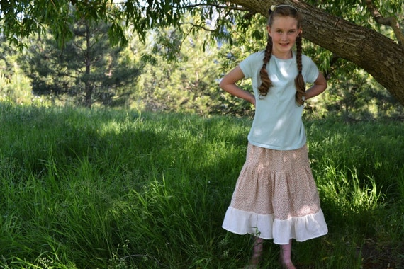 Rosebud Print Tired Skirt - Girl's Ruffled Prairie Skirt - Ready to Ship