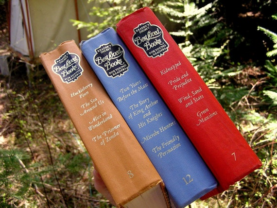 Vintage Book Collection - Reader's Digest Best Loved Classics 1969 Set of 3 Volumes - Jane Austen, Mark Twain, Robert Stevenson, Howard Pyl