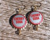 Vintage Soda Pop Top Earrings - Cherry Soda