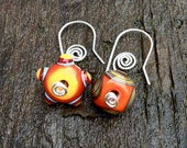 Orange, Blue and Brown Glass Lampwork Bead and Sterling Silver Earrings