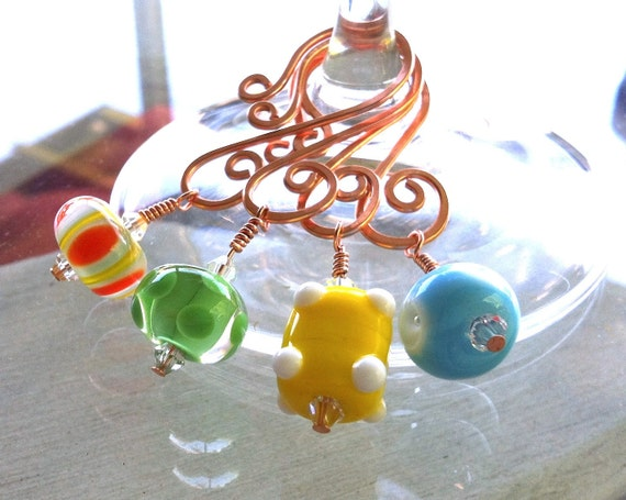 Wine Glass Charms Summer Fun Lampwork Bead and Copper Set of 4.  FREE SHIPPING 002