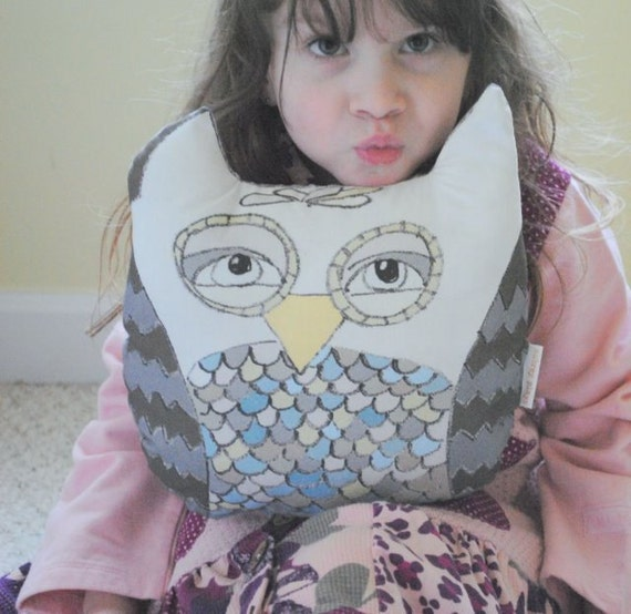 owl Pillow. original fabric. mushroom
