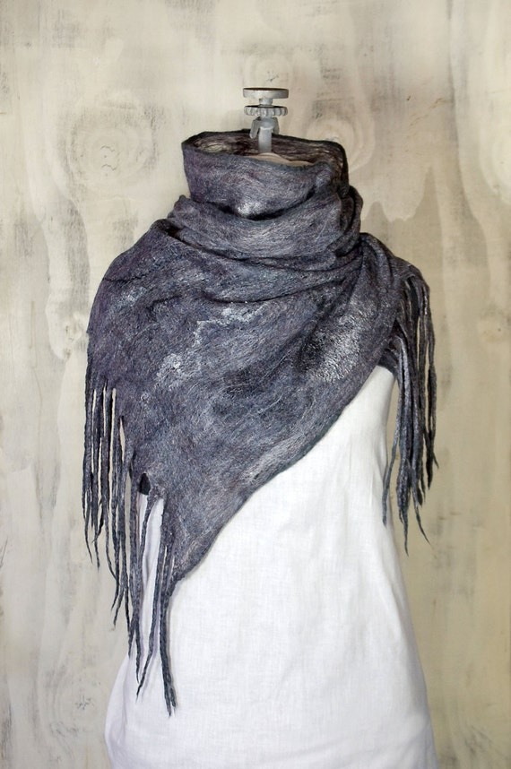 Felted Cobweb Scarf/Wrap in Pewter