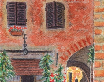 Standing Sentry (Tuscan Grandmother) - Original Watercolor Painting