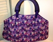 Purple Flowers Prevail large padded purse with wooden handles