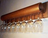Wine glass Shelf in hammered copper holds 6 of your favorite standard base wine glasses - MichelleNapier