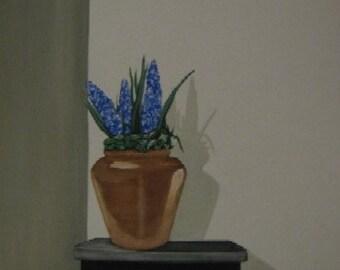 Modern Still - an original acrylic painting in terra cotta blue black white gray