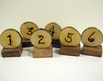 Rustic Wedding Table Markers woodburned on slice with pine base