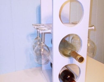 Unique wine rack stemware rack in white is perfect for a beach cottage